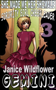 SHE MADE ME HER SHEMALE SORORITY GIRL CHEERLEADER #3 by Janice Wildfire Gemini mags, inc, novelettes, crossdressing, transgender, transsexual, transvestite, feminine, domination, story, stories, fiction